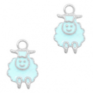 Basic Quality metalen bedels schaap Zilver-Light blue