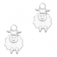 Basic Quality metalen bedels schaap Zilver-White