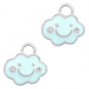 Basic Quality metalen bedels wolk Zilver-Light blue