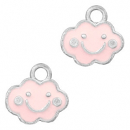 Basic Quality metalen bedels wolk Zilver-Pink