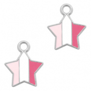 Basic Quality metalen bedels ster Zilver-Fuchsia white pink