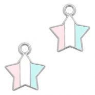 Basic Quality metalen bedels ster Zilver-Light blue white pink