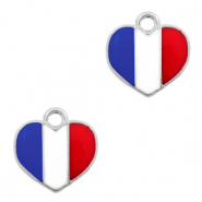 Basic Quality metalen bedels hart Zilver-Red white blue