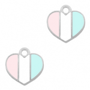 Basic Quality metalen bedels hart Zilver-Light blue white pink