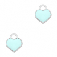 Basic Quality metalen bedels hart Zilver-Light blue