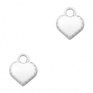Basic Quality metalen bedels hart Zilver-White