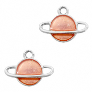 Basic Quality metalen bedels planeet Zilver-peach