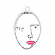 Basic Quality metalen bedels lined face pink lips Zilver