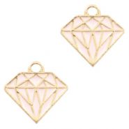 Basic Quality metalen bedels diamond Goud-roze