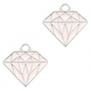 Basic Quality metalen bedels diamond Zilver-roze