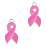 Basic Quality metalen bedels ribbon Zilver-pink