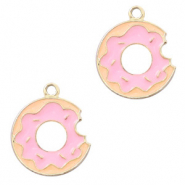 Basic Quality metalen bedels donut Goud-roze