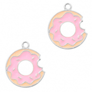 Basic Quality metalen bedels donut Zilver-roze