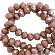 Top Facet kralen 6x4 mm disc Tawny brown-pearl shine coating