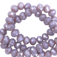 Top Facet kralen 6x4 mm disc Greige purple-pearl shine coating