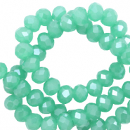 Top Facet kralen 4x3 mm disc Light emerald green-pearl shine coating