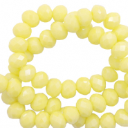 Top Facet kralen 8x6 mm disc Sunshine yellow-pearl shine coating