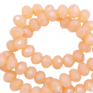 Top Facet kralen 3x2 mm disc Apricot rose-pearl shine coating