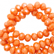 Top Facet kralen 3x2 mm disc Persimmon orange-pearl shine coating