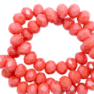 Top Facet kralen 4x3 mm disc Coral red-pearl shine coating