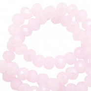 Top Facet kralen 6x4 mm disc Light orchid pink-pearl shine coating