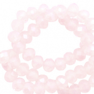 Top Facet kralen 4x3 mm disc Seashell pink-pearl shine coating