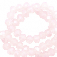 Top Facet kralen 3x2 mm disc Seashell pink-pearl shine coating