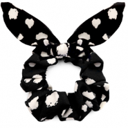 Scrunchies haarelastiek dots print met strik Black