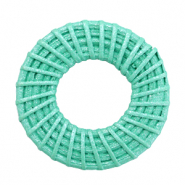 Rotan hanger rond 40mm Turquoise green