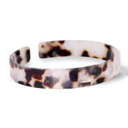 Trendy armbanden resin loose fit Off white-brown