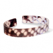 Trendy armbanden resin loose fit snake matt Brown-grey