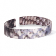 Trendy armbanden resin loose fit snake matt Blue-brown
