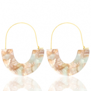 Trendy oorbellen resin Beige blue-gold