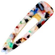 Haaraccessoires haarclip resin XL Multicolour-gold