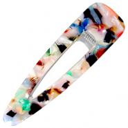 Haaraccessoires haarclip resin XL Multicolour-silver