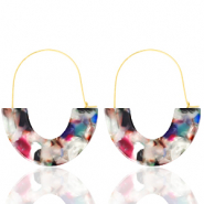 Trendy oorbellen resin Multicolour-gold