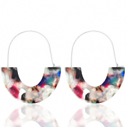 Trendy oorbellen resin Multicolour-silver