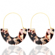 Trendy oorbellen resin Brown pink-gold
