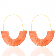 Trendy oorbellen resin Living coral red-gold
