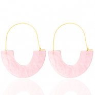 Trendy oorbellen resin Light pink-gold