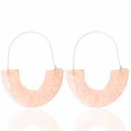 Trendy oorbellen resin Peach-silver