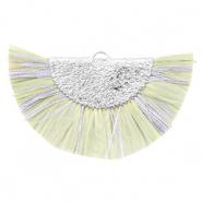 Kwastjes hanger Silver-Light moss green