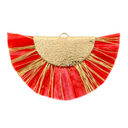 Kwastjes hanger Gold-Haute red