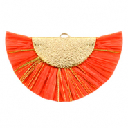 Kwastjes hanger Gold-Tigerlily red