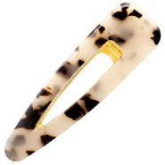 Haaraccessoires haarclip resin XL Cream black-gold
