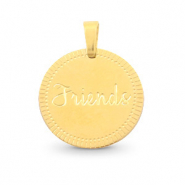 "Roestvrij stalen (RVS) Stainless steel bedels rond 15mm ""friends"" Mix & Match Goud"