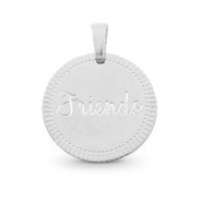 "Roestvrij stalen (RVS) Stainless steel bedels rond 15mm ""friends"" Mix & Match Zilver"