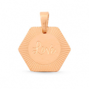 "Roestvrij stalen (RVS) Stainless steel bedels hexagon ""love"" Mix & Match Rosé goud"