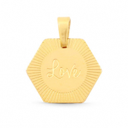 "Roestvrij stalen (RVS) Stainless steel bedels hexagon ""love"" Mix & Match Goud"