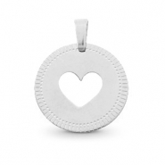 Roestvrij stalen (RVS) Stainless steel bedels rond 12mm heart Mix & Match Zilver